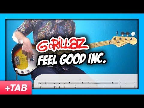 Gorillaz - Feel Good Inc.   Bass Cover with Play Along Tabs