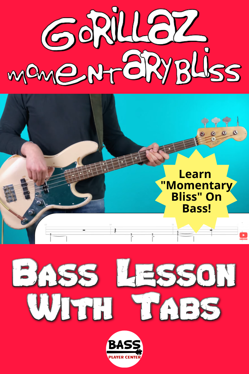 Momentary - Bliss Gorillaz - Bass Lesson With Tabs