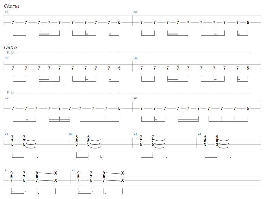 Ace of Spades Bass Tab Chorus 3 and Outro