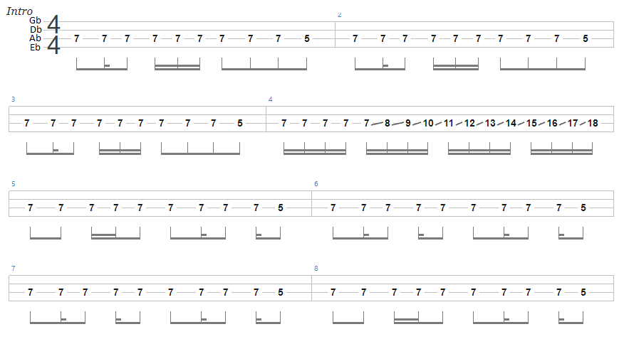 Ace of Spades Bass Tab Intro Tuning