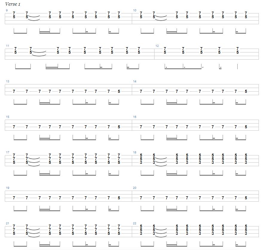 Ace of Spades Bass Tab Verse 1