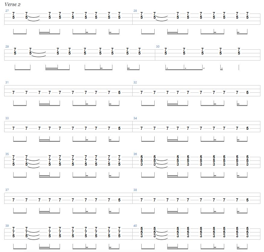 Ace of Spades Bass Tab Verse 2