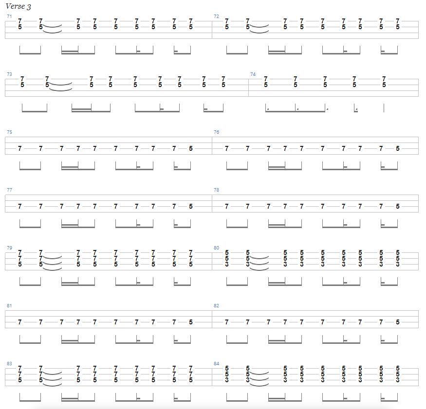 Ace of Spades Bass Tab Verse 3