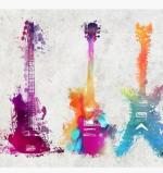 5 guitars Canvas Print