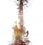 """Bass Guitar Watercolor"" – Canvas Wall Art"